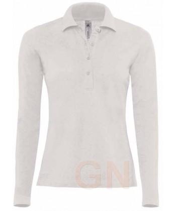 Polo de mujer B&C de algodón y manga larga color blanco