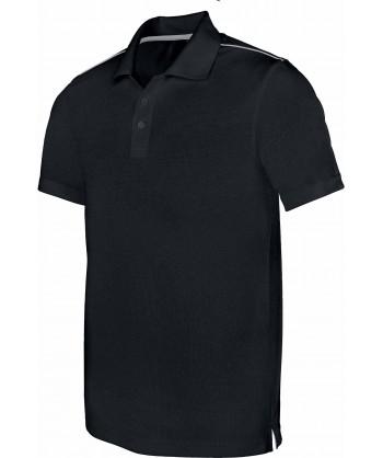 Polo de caballero transpirable y de manga corta color negro