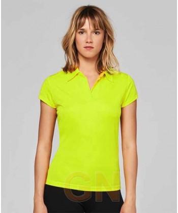 Polo deportivo de mujer transpirable de manga corta color amarillo A.V.