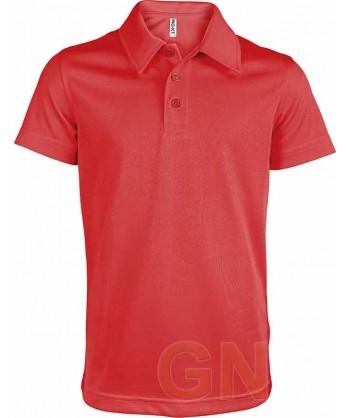 Polo transpirable de manga corta para niños color rojo