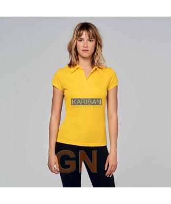 Polo deportivo de mujer transpirable color amarillo