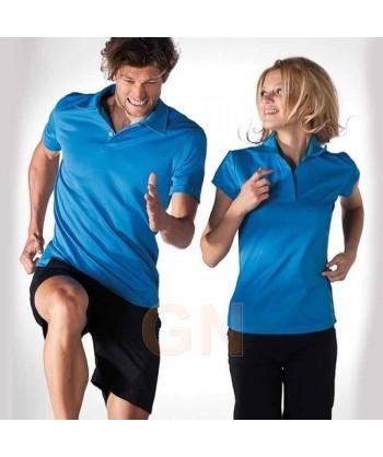 Polo deportivo de mujer transpirable colores azules
