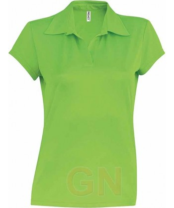 Polo deportivo de mujer transpirable color lima