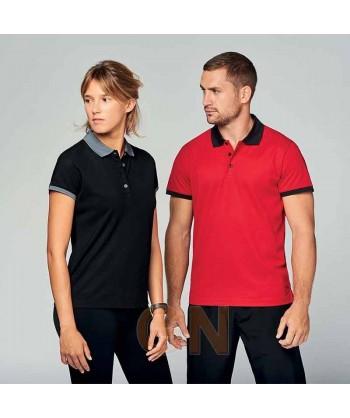 Polo de manga corta con tejido técnico transpirable Cool Plus® color rojo/negro y negro/gris