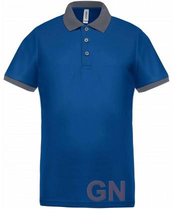 Polo de manga corta con tejido técnico transpirable Cool Plus® color azulina/gris