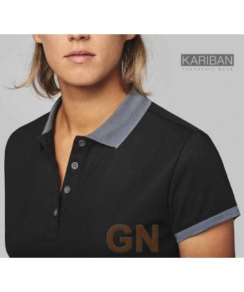 Polo de manga corta con tejido técnico transpirable Cool Plus® color negro/gris