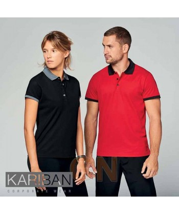 Polo de manga corta con tejido técnico transpirable Cool Plus® color rojo/negro