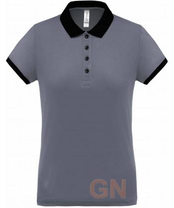 Polo de manga corta con tejido técnico transpirable Cool Plus® color gris/negro