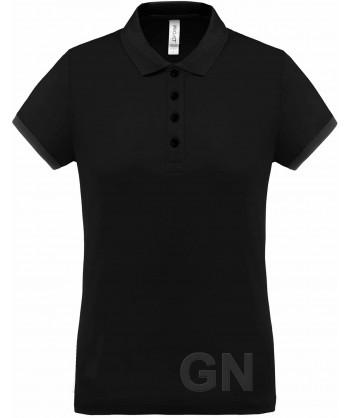 Polo de manga corta con tejido técnico transpirable Cool Plus® color negro/negro