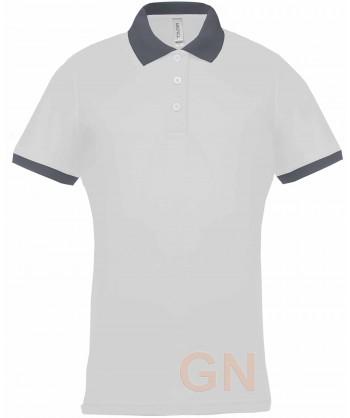 Polo de manga corta con tejido técnico transpirable Cool Plus® color blanco/gris