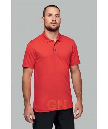 Polo transpirable combinado de manga corta rojo/negro