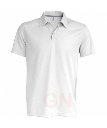 Polo transpirable combinado de manga corta blanco/gris