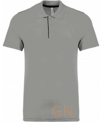Polo transpirable combinado de manga corta gris/negro