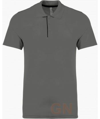 Polo transpirable combinado de manga corta gris oscuro/negro