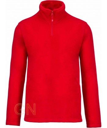 Jersey polar de media cremallera rojo
