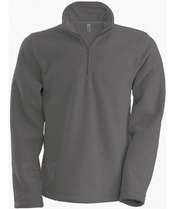 Jersey polar de media cremallera gris oscuro