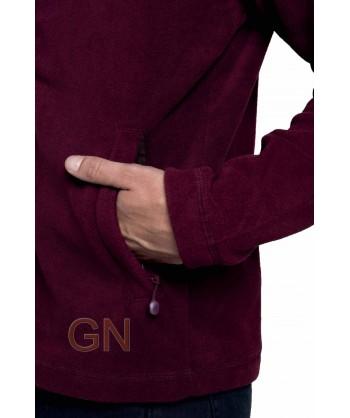 chaqueta polar gruesa color burdeos