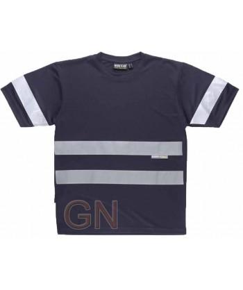 Camiseta manga corta transpirable con cintas reflectantes color marino