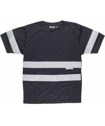 Camiseta manga corta transpirable con cintas reflectantes color negro