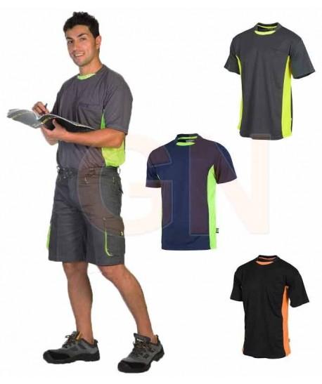 Camiseta combinada transpirable con bolsillo