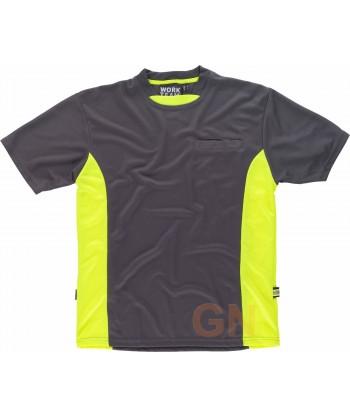 Camiseta combinada transpirable con bolsillo gris/amarillo A.V.