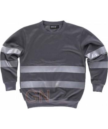 Sudadera de felpa gris oscuro con cuello redondo y cintas reflectantes
