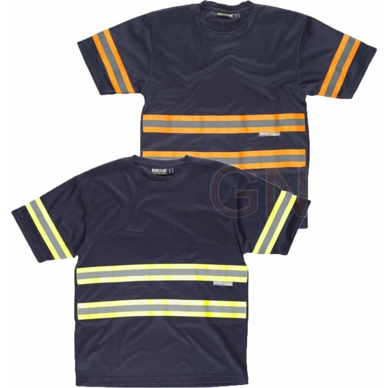 Camiseta transpirable de manga corta con cintas reflectantes bicolor