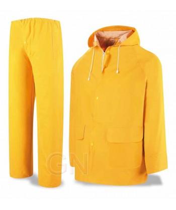 Traje para lluvia de PVC amarillo