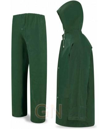 Traje para lluvia de PVC verde
