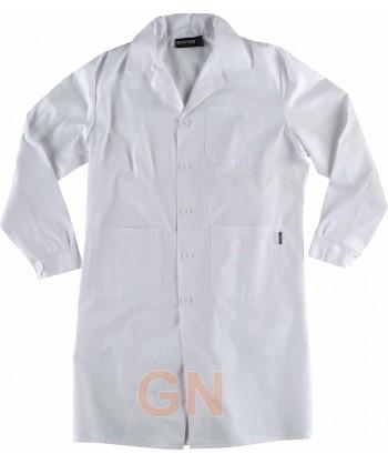 Bata entallada de mujer con botones y manga larga color blanca