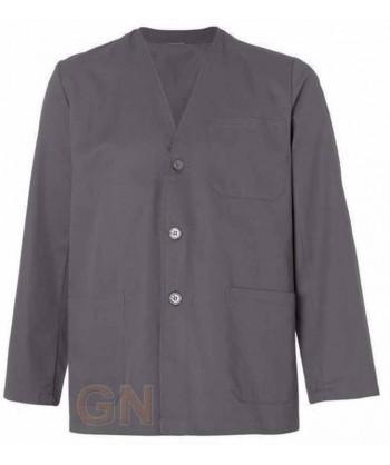 Bata sahariana corta unisex sin cuello y tres bolsillos color gris