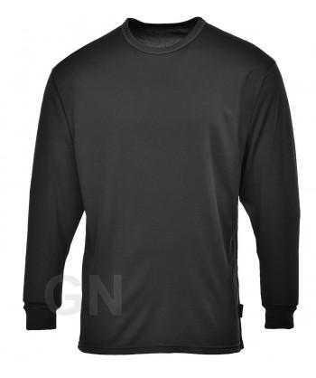 Camiseta térmica de manga larga con tejido transpirable color negro