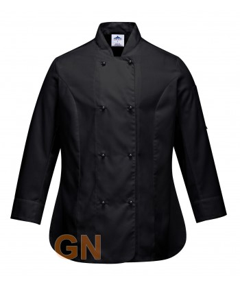 Chaqueta de cocina de mujer transpirable y cierre de botones tipo chupetes color negra
