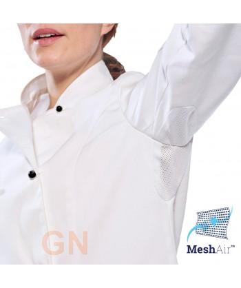 Chaqueta de cocina de mujer transpirable y cierre de botones tipo chupetes color blanca