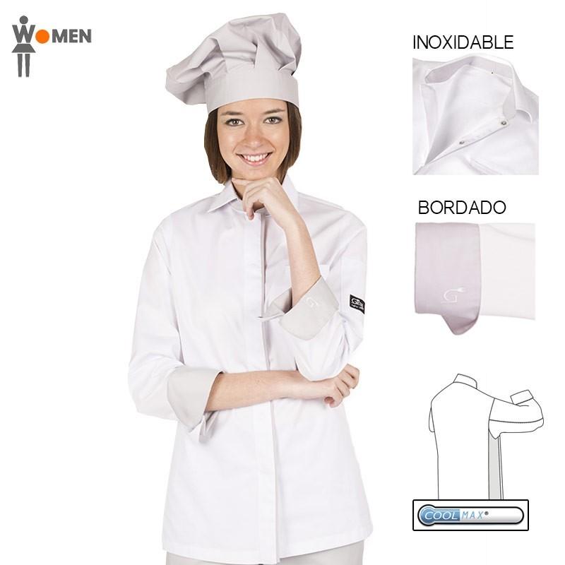 Chaqueta de cocina de algodón egipcio y coolmax para mujer