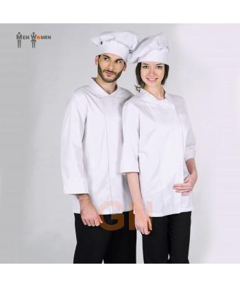Chaqueta de cocina de algodón egipcio con espalda transpirable