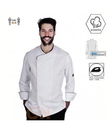 Chaqueta de cocina unisex con espalda transpirable y manga 3/4 color blanco