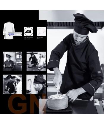 Chaqueta de cocina unisex con espalda transpirable y manga 3/4 color negro