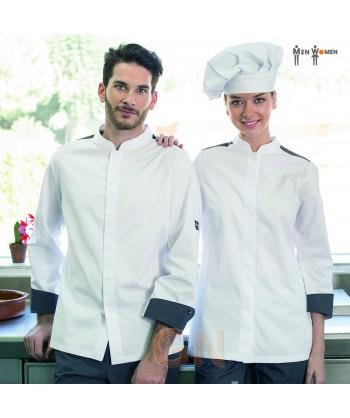 Chaqueta de cocinera con los costados transpirables de Coolmax blanca