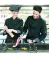 Chaqueta de cocinera con los costados transpirables de Coolmax negra