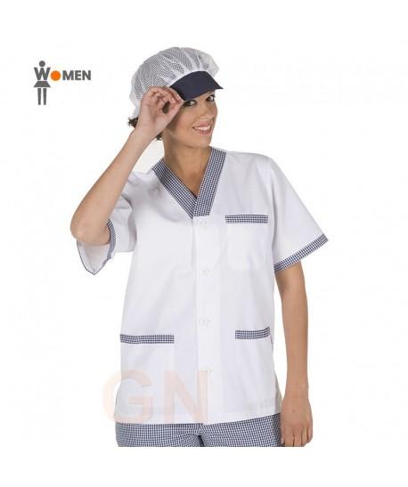 Blusa de cocinera con manga corta y botones
