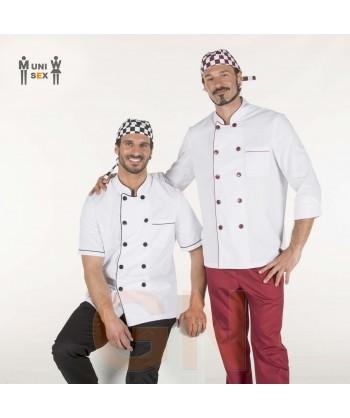 Chaqueta unisex de cocina de manga corta y vivos a contraste