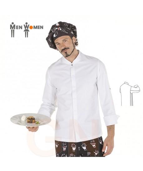 Chaqueta de cocina de hombre con los costados transpirables blanca