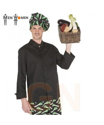 Chaqueta de cocina de hombre con los costados transpirables negra