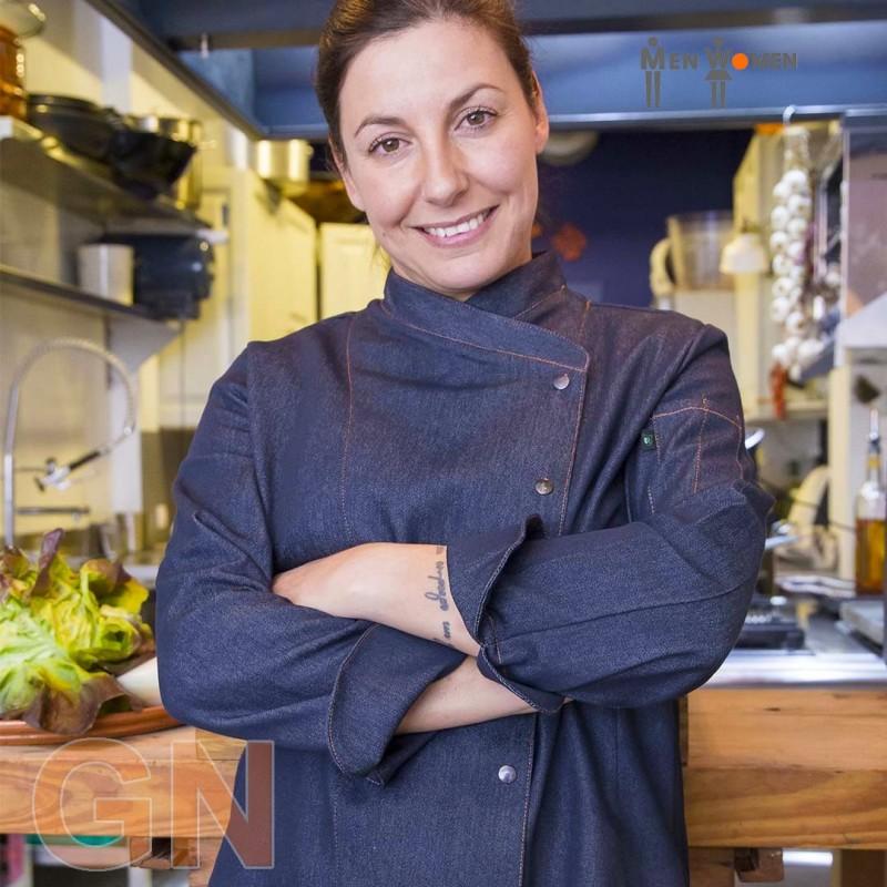 Chaqueta tejana de cocina para mujer con costados transpirables