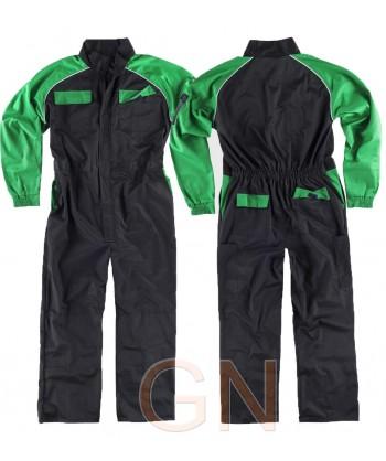 Buzo deportivo de tergal combinado negro/verde